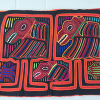 Beautiful Vintage Mola 3 ply layers Indian colorful textile art animals fish birds