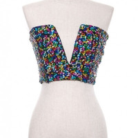 Sequined Bustier Top (Multi-Color)