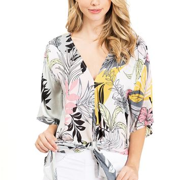 Hibiscus Front-Tie Blouse