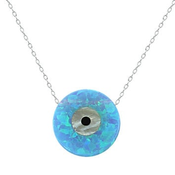 Light Blue Opal Stone Collar Necklace Round Shape Necklaces & Pendants High Quality 925 Sterling Silver Necklace Jewelry