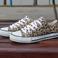 """Converse"" Fashion Leopard Canvas Flats Sneakers Sport Shoes"