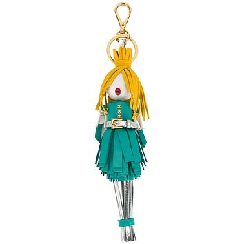 Prada Trick in Pelle Alice Doll Yellow Hair Agata Teal Silver Leather Key Chain Charm 1TL172