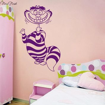 Wall Decal Cheshire Cat Alice in Wonderland Different Reality Crazy Children's Room Kids Bedroom Vinyl Sticker Home Decor Mural