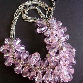 Crystal Cluster Pink-Lavender Necklace, Cha Cha Tear Drop, Silver Tone, Vintage