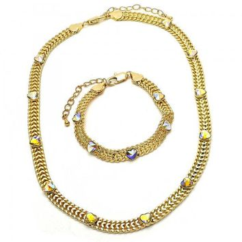 Gold Layered 06.185.0016 Necklace and Bracelet, Heart Design, with Aurore Boreale Crystal, Polished Finish, Golden Tone