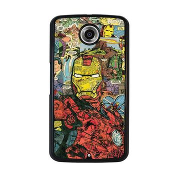iron man comic collage nexus 6 case cover  number 1