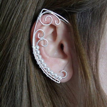 Pearls elven ear • elvish earring
