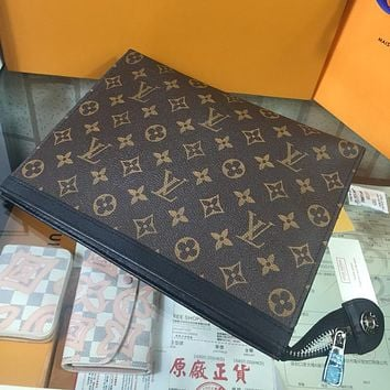 Louis Vuitton Lv Woman Men Envelope Clutch Bag Leather File Bag Tote Handbag