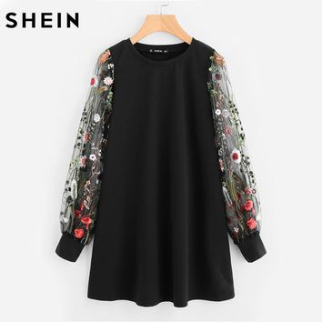 SHEIN Botanical Embroidered Mesh Sleeve Longline Pullover Elegant Black Long Sleeve Casual Fall 2017 Sweatshirts