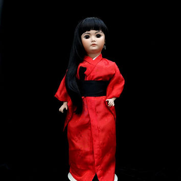 Doll by Simon and Halbig  #1329 | Collectors Doll | Japanese Style | Red Kimono | Costume Doll