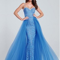 [138.99] Glamorous Tulle & Lace Spaghetti Straps Neckline A-Line Evening Dresses With Hot Fix Rhinestone - dressilyme.com