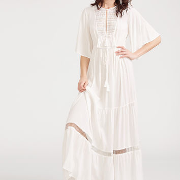 White Lace Flutter Sleeve Tasseled Tie Peasant Dress