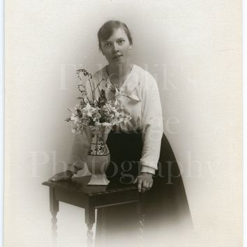 Vintage Young Pretty Woman Photo RPPC, Vase of Flowers , Studio Vignette Portrait - Real Photo Postcard - The Popular Brown Photographer