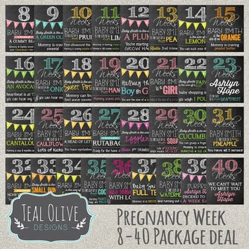 Weekly Pregnancy Chalkboard Sign - Chalkboard sign - Week 8-40 Package Deal 33 Signs - Weekly Countdown