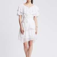Banana Republic Womens Monogram White Ruffle Dress
