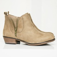 Zoey Suede Booties | Taupe