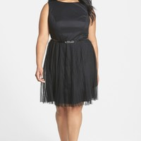 Adrianna Papell | Dotted Tulle Fit & Flare Party Dress (Plus Size) | Nordstrom Rack