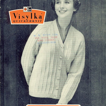 1950's Hand Knit Pattern - Woman's Knit Coat Cardigan Jacket - Vintage Knitting Pattern - Visylka Quickerknit 4024