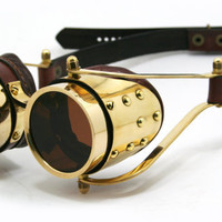 STEAMPUNK GOGGLES solid brass brown leather polished brass decor interchangeable lenses CUSTOM design