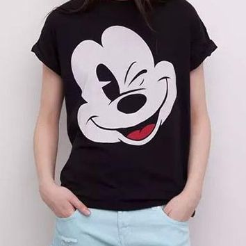 Women's T-Shirt - Mickey Mouse / Short Sleeved / Black White Red