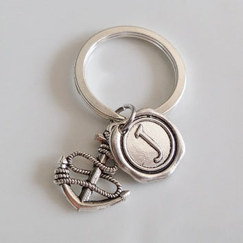 Anchor Keychain, Monogram initial keychain, best friend keychain, Sister mother daughter boyfriend girlfriend Gift