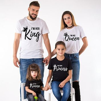 King Queen Couples Crown Summer Matching Family T-shirt