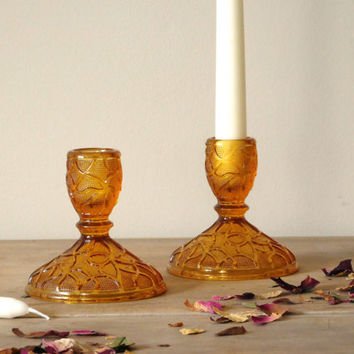 Amber Glass Candlestick Holders Imperial Glass Tree of Life Pattern