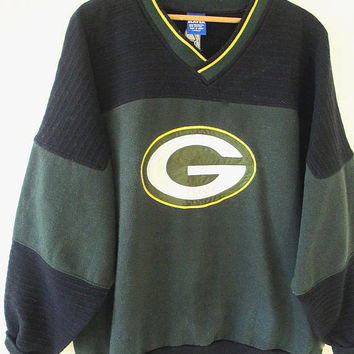 Vintage 90s Green Bay PACKERS Pro Player FOOTBALL Heavyweight Ribbed Athletic Embroidered Sweatshirt Sz L/XL