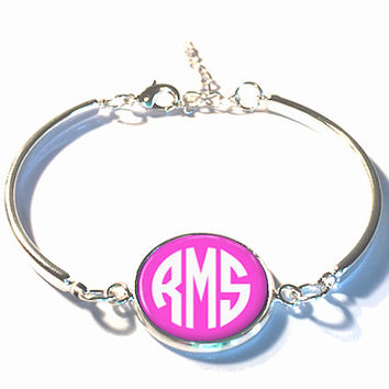 Pink Monogram Bracelet, Monogram Bangle,  Monogram Jewelry, Bridesmaid Gift, Personalized Bracelet, Mother's Day Gift - Style 330