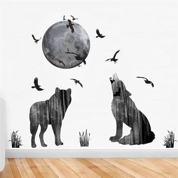 Horrible Halloween Wall Stickers Wolfs Howl the Full Moon Night Birds Bat Grassland Room Decals Livingroom Decorations Diy Mural