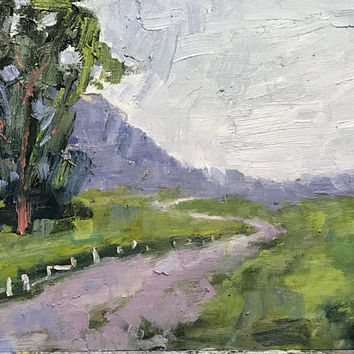 FENCE in the ROAD - 9 x 12 - Northern California - Plein Air - Landscape - Original Oil Painting - Home Decor - Napa - Sonoma - Clouds