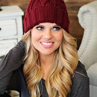 * Cable Knit Beanie With Pom : Wine