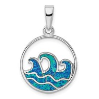 Sterling Silver Blue Created Opal Ocean Wave Pendant