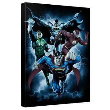 Justice League Fab Four Stretched Canvas Wall Art