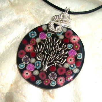 Tree of Life RESIN and CLAY Pendant HANDMADE by vaniasartshop