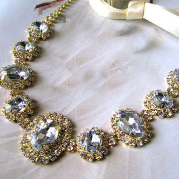 Bridal jewelry, bridal necklace, Wedding hair accessory, Swarovski rhinestones Crystal Grecian headband, Golden bridal headband