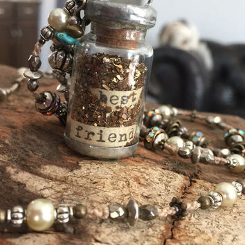Vintage inspired faux pearl necklace with a unique hand-crafted best friends pendant with gold  and antiqued silver accents