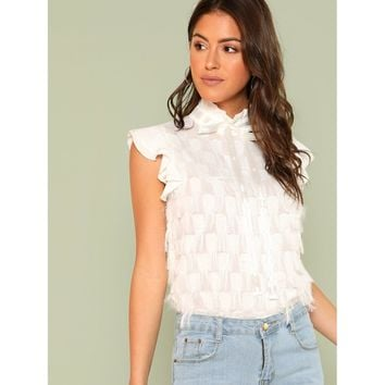 Frill Neck And Shoulder Ribbon Detail Top