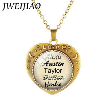 JWEIJIAO Personalized Vintage Heart Shape Pendant Necklace Custom Your Friend Lovers Families Name Birthday Jewelry Gift NA01