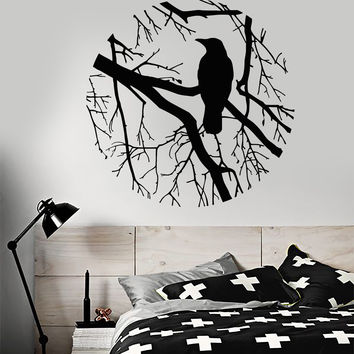 Vinyl Wall Decal Bird Branch Crow Gothic Style Circle Bedroom Design Stickers (801ig)