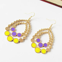 Multicolor Gemstone Gold Round Earrings - Sheinside.com
