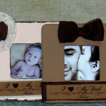 Mom Mother Dad Daddy Mum Gift Personalized Frame Set of 2 Rustic Frame Shabby Chic Frame Personalized Christmas Gift from Daughter from Son