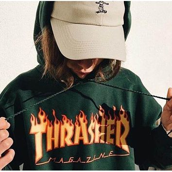 Thrasher Classic Fashionable Couple Casual Flame Letter Print Hip Hop Hoodie Sweater Pullover Top Sweatshirt Green