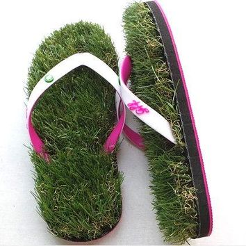 Grass Flip Flops - White and Pink