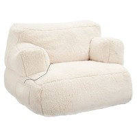 Ivory Sherpa Faux Fur Eco Lounger Speaker Media Chair