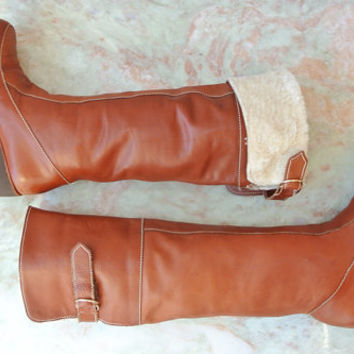 vintage leather boots / shearling lined 70s OTK boots size 8.5