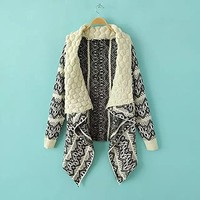 Woman's Stripes Pattern Drape Cardigan with Special Neck Design 080869