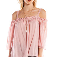 RUFFLED OFF THE SHOULDER TOP - PINK