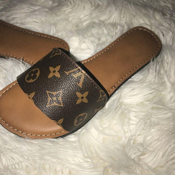 SUMMER SALE: Reworked Louis Vuitton Sandals Luxury Fashion Wear