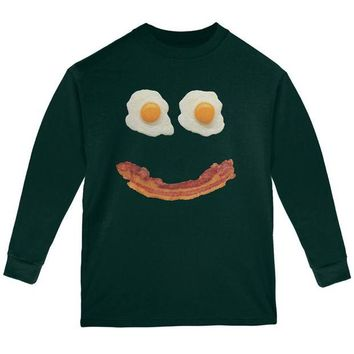 DCCKU3R Mr. Happy Smiley Face Bacon And Eggs Youth Long Sleeve T Shirt